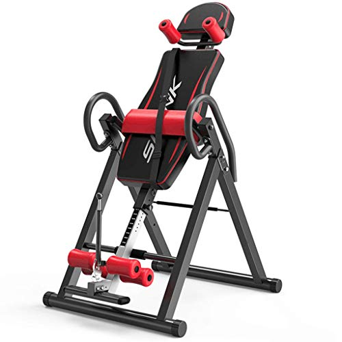 gofh Gravity Heavy Duty Inversion Table, Fitness Chiropractic Back Stretcher Heavy Duty Reflexology Mat with Adjustable Headrest and Protective Belt Red