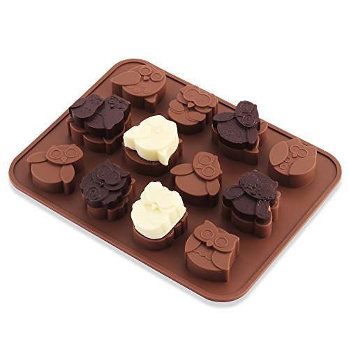12 Different Emotion Owls Silicone Chocolate & Candy Molds, Soap, Backing Mold, Ice Cube Tray-Food Grade Silicone, BPA & PVC Free, Brown (Mold Candy International)