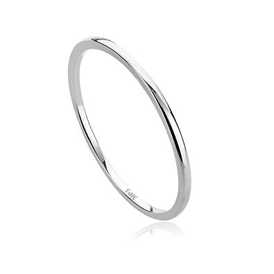 dbdad7f3a83b80 Amazon.com: 14K White Gold 1mm Thin Domed Wedding Band Ring: Jewelry