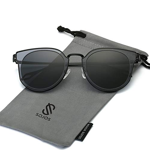 SOJOS Fashion Polarized Sunglasses for Women UV400 Mirrored Lens SJ1057 with Black Frame/Grey Polarized Lens