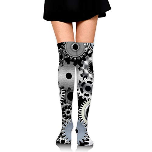 Girls Woman's Crew Dress Socks Non Slip/Moisture Control Athletic Socks, Cotton Compression Sock for Gym Skiing Sports, Long High Mechanical Engineering Gear Novelty Socks
