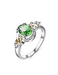 Womens Jewelry Circular Bead Cross Heart Green Gemstone White Cubic zirconia Diamond Three Tone Silver Plate Gold Plate Wedding Ring
