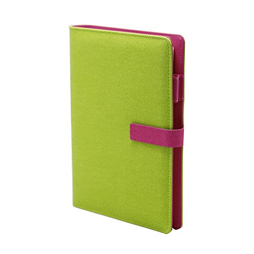 WCR Writing Journal Notebook - Soft Cover PU Leather Executive Personal Organiser with Card Pockets - Pen Loop and Magnetic Clip - Ruled Loose-Leaf Diary for Men and Women - 80Sheets 160Pages (Green - A5)