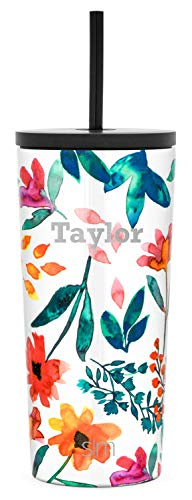Simple Modern Personalized Gift Tumbler Custom, Classic 20oz - Straw & Flip Lid, Pattern: Florista
