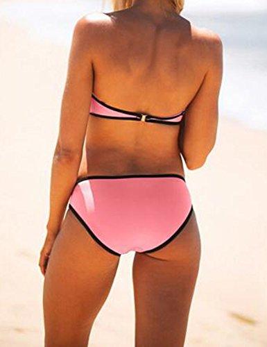 Ninimour Traje de Baño Dos Piezas de Color Fluorescentes Bikini Sets Hit Color Swimsuit Y-Pink