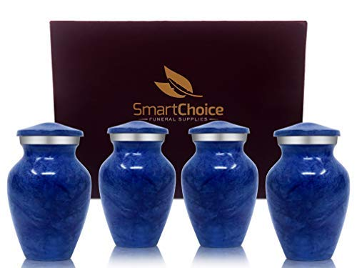 - Set of 4 SmartChoice Keepsake Cremation Urns for Human Ashes - Handcrafted Funeral Memorial Mini Urns (Light Blue)