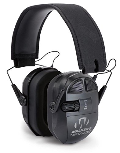 GSM Outdoors GWP-XPMQB Walkers Game Ear Ultimate Power Muff Quads with Adjustable Frequency Tuning/Electric, Black (Muffs Walkers Power Quad)