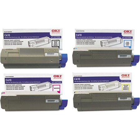 OKI Toner Set for C610 Series Printers. Full Set of 4 Genuine OKI Toner Cartridges. 44315301 Yellow, 44315302 Magenta, 44315303 Cyan, 44315304 Black. Type C15 - 6K Yield on colors, 8K Yield on Black