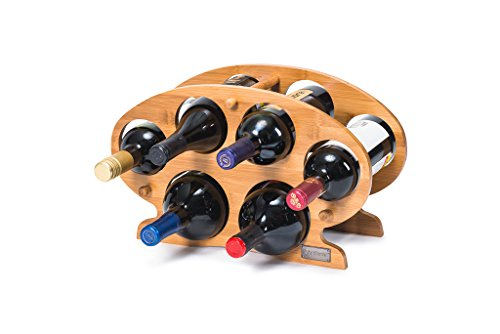 Castlencia Bamboo 6 Bottle Countertop/Table Top Wine Display Rack Storage Stand- Solid Wobble-Free - No Tool Assembly(Natural)