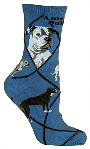 American Bulldog Blue Ultra Lightweight Cotton Crew Socks