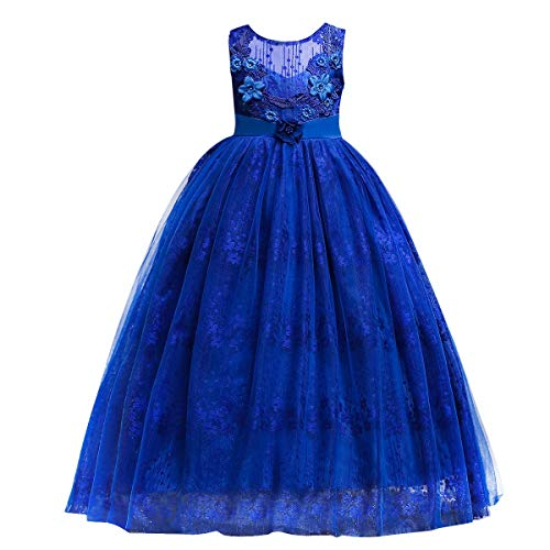 Girls Flower Vintage Lace Princess Dress for Kids Tulle Retro Pageant Party Wedding Floor Length Dance Evening Gown (9-10 Years, Royal Blue)