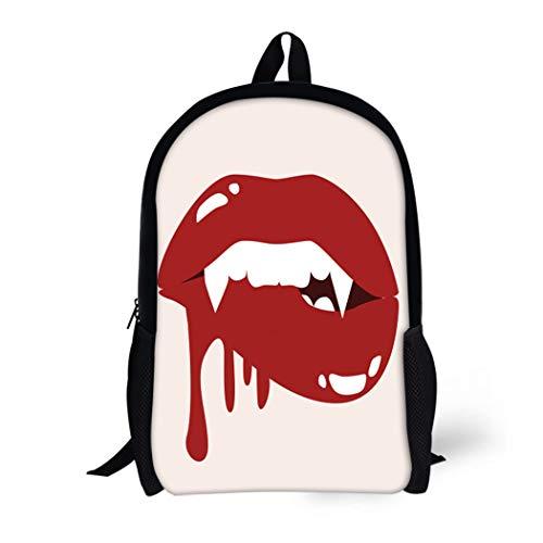 Pinbeam Backpack Travel Daypack Red Sexy Vampire Biting Lips Blood Cartoon Halloween Waterproof School Bag ()