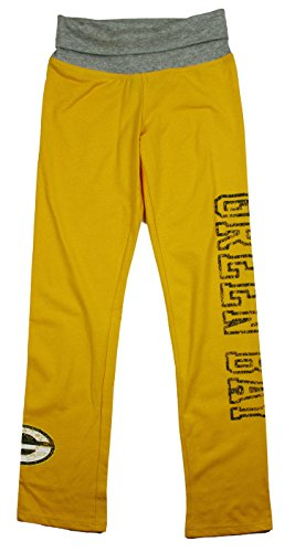 Green Bay Packers NFL Big Girls Yoga Roll Pant, Yellow (Small (7-8), Yellow) by Outerstuff