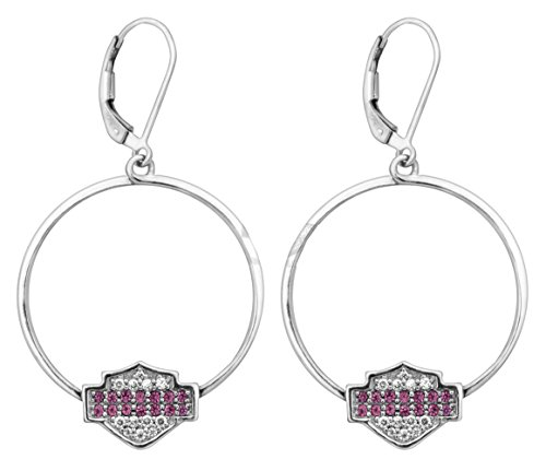 Harley-Davidson Womens Pink & White Bling B&S Large Hoop Earrings (Harley Davidson Bling Parts)
