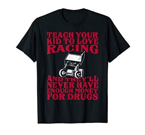 Father's Dad Teach Kid Love Racing Sprint Car Parenting Race T-Shirt