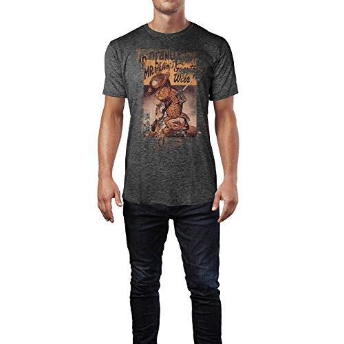 SINUS ART® Mr. Peanut Herren T-Shirts stilvolles dunkelgraues Cooles Fun Shirt mit tollen Aufdruck
