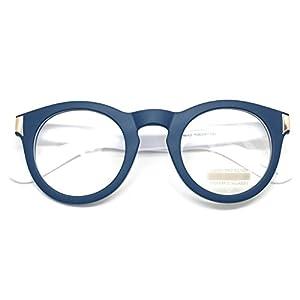Classic Round Horn Rimmed Eye Glasses Clear Lens Oval Non Prescription Frame (Blue White 8071, Clear)