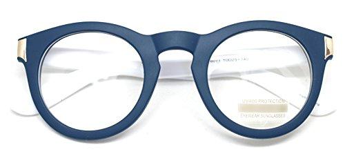 Classic Round Horn Rimmed Eye Glasses Clear Lens Oval Non Prescription Frame (Blue White 8071, - Horn Eyeglasses