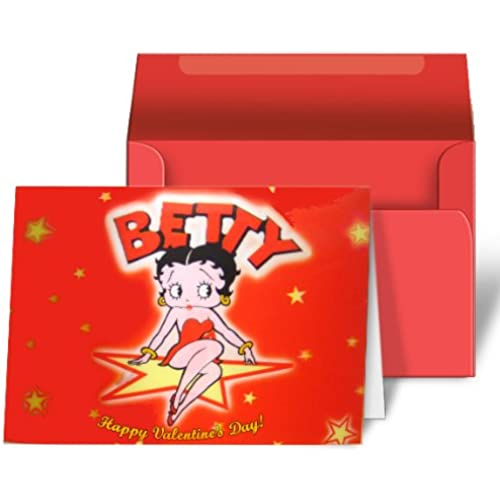 Betty Boop Lenticular Valentines Day Greeting Card 4x6, Star, Red Sales