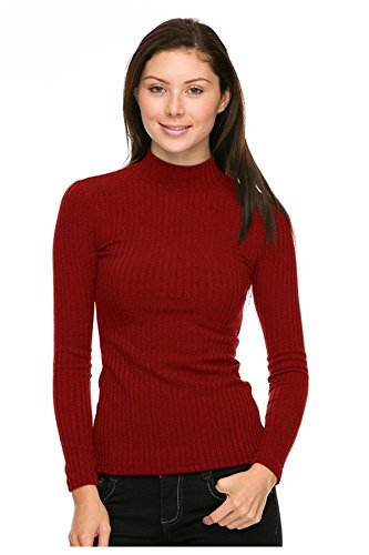G2 Chic Women's High Turtle Neck Knit Casual Sweater Top(TOP-SWT,RED-M)