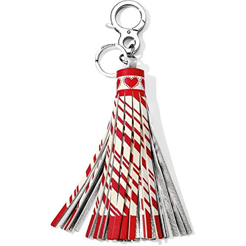 - Boho Candy Cane Leather Tassel Fob Keychain Red White