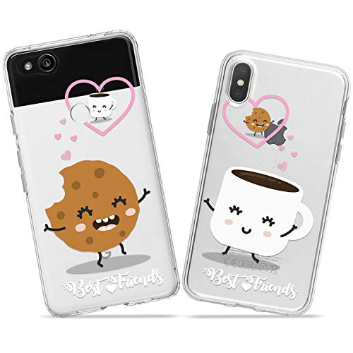 Branch Sweet (Wonder Wild Tea and Cookie Couple Case iPhone Xs Max X Xr 10 8 Plus 7 6s 6 SE 5s 5 TPU Clear Gift Apple Phone Cover Print Protective Double Pack Silicone Branch Food Meal Testy Cute Sweet Matching)