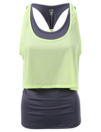 C9 Champion Women's Layered Long Tank Top Miltary Grey/Highlighter Size M