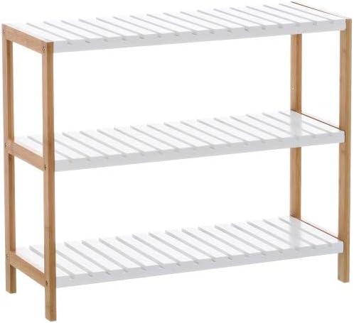 Estantería Blanca de bambú con 3 baldas nórdica para Cuarto de baño Basic - LOLAhome: Amazon.es: Hogar