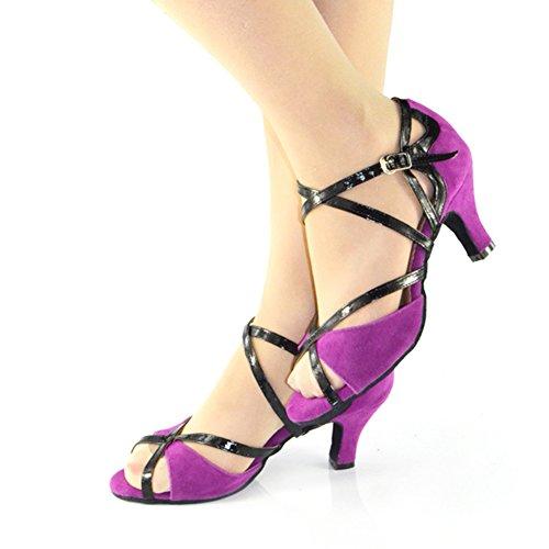 Fond WYMNAME Danse de Danse Danse Violet Latine Mou Chaussures Chaussures Chaussures de Sociale Daim de Womens Go Heels High ftxfqrP