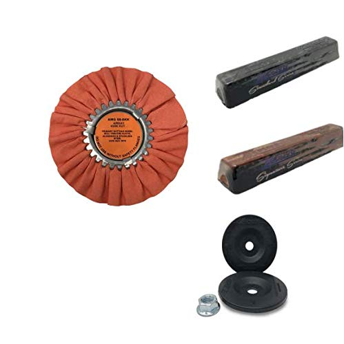 (Zephyr Heavy Cut Orange Airway Buffing Wheel with Stainless Steel and Tripoli Rouge and Flange Adapter)
