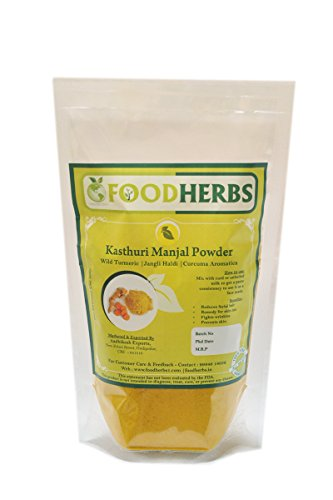 Foodherbs Wild Turmeric/Kasthurimanjal/Curcuma Aromatica Powder (200 Gm/0.44 Lbs) for Acne Control, Natural Product for Removal of Facial Hair