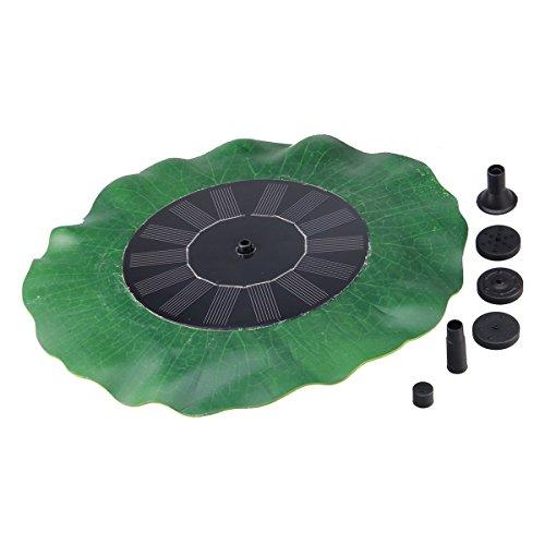 KLAREN Green Lotus Leaf 1.4W Solar Powered Water Floating Bird Bath Pump for Gardens, Pools and Ponds