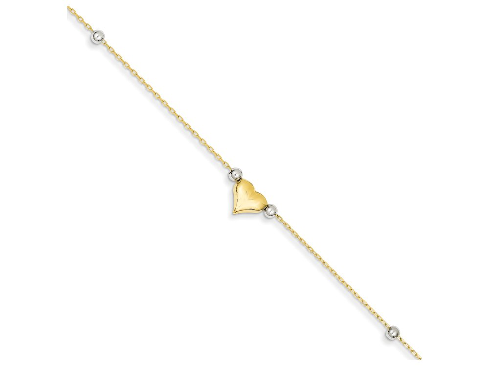 Finejewelers 10 Inch 14k Two-tone Polished Puffed Heart with Beads Anklet