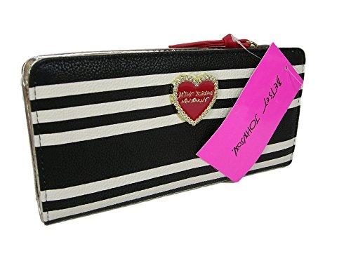 New Betsey Johnson Logo Wallet Bi-fold Stripe Black White Red Purse Hand - Wallet Betsey Bifold Johnson