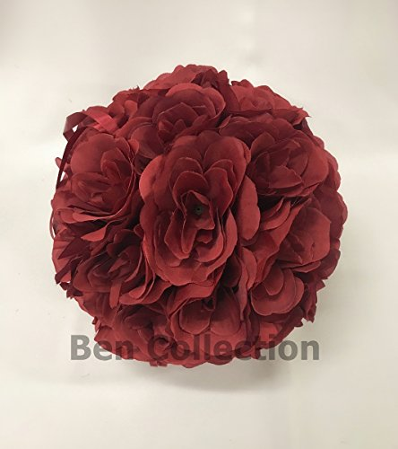 10 Pack Romantic Rose Pomander Flower Balls Rose Bridal for Wedding Bouquets Artificial Flower DIY Burgundy By Ben Collection by Ben Collection