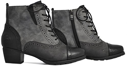 Marco Tozzi - botas Brogue mujer gris