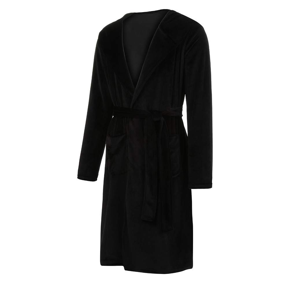 Clearance! Mens Hooded Fleece Solid Colored Plush Soft Robe Full Length Long Shawl Collar Kimono Bathrobe at Amazon Mens Clothing store: