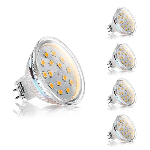 Ascher 4er Pack GU5.3 MR16 3W LED Lampen, 250LM, Ersatz für 35W Halogenlampen,12V AC / DC, Warmweiß,120 ° Abstrahlwinkel, LED Birnen, LED Leuchtmittel