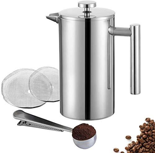 Meelio French Press – Cafetera de prensa (1,5 L, 10 tazas, acero inoxidable, con dos filtros adicionales y cuchara…