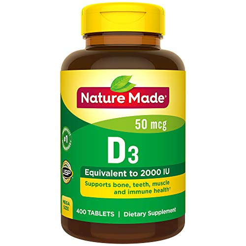 Nature Made Vitamin D3 2000 IU (50 mcg) Tablets, 400 Count for Bone Health† (Packaging May Vary) (Natures Made Vitamin D)