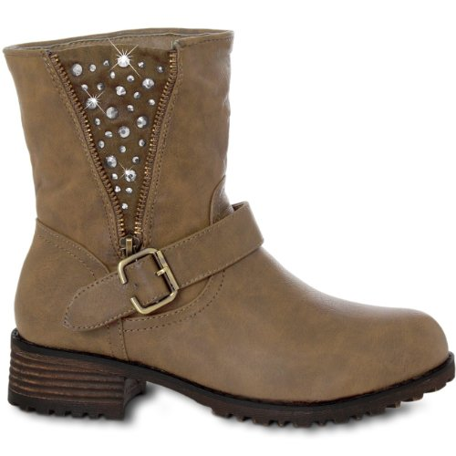 CASPaR up Ankle Boots Boots with Rhinestone Buckle - 2 Colours Size: 5 UkbYVn