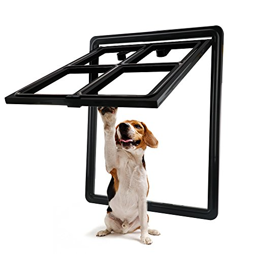 CEESC Dog Door for Sliding Screen Door, 3rd Upgraded Version Automatic Lock Pet Door for Dogs Puppies Cats, 3 Colors 5 Options (Large Black) by CEESC