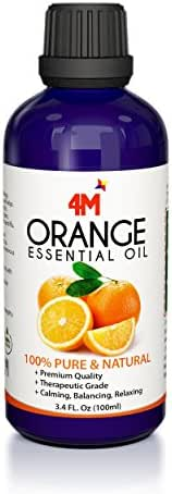 4M STAR Sweet Orange Essential Oil – 100% Pure and Natural 3.4oz. - Therapeutic Grade - Uplift Your Mood - Enhance Your Immune System - Wonderful Citrus Scent