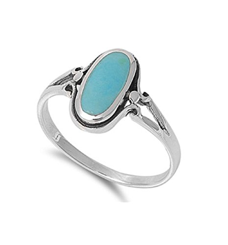 CloseoutWarehouse Oval Simulated Turquoise Stone Elongated Ring Sterling Silver Size ()