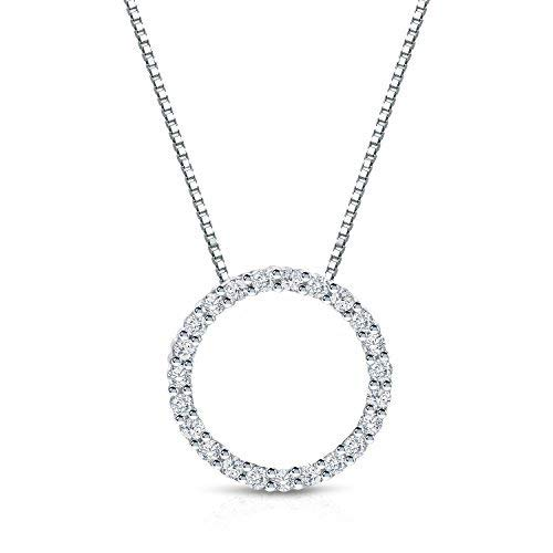 Diamond Wish 14k White Gold Round Diamond Circle of Life Pendant Necklace (1/4 cttw, J-K Color, I1-I2 Clarity) with 18