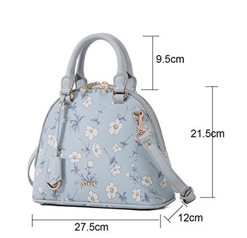 Micom 2015 Summer Elegant Crossgrain Floral Printing Pu Leather Shell Tote Shoulder Bag Handbags for Women,girls (Beige)