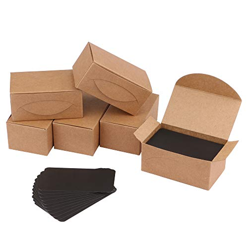 Veesoo Note Card, 100PCS 2x3.5 Inch Kraft Paper Message Note Card Blank Note Gift Card for Memo Vocabulary Word DIY Gift Cards, Pack of 6, Black