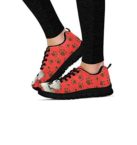 By Designed Women's Alice Print Dog Black Sneakers Customized Casual Peek vYqOaFYw
