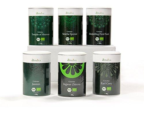 Grüntee Probier-Set (mit sechs hochwertigen Bio-Grüntees in praktischer Aromaschutzdose, hergestellt in Deutschland)