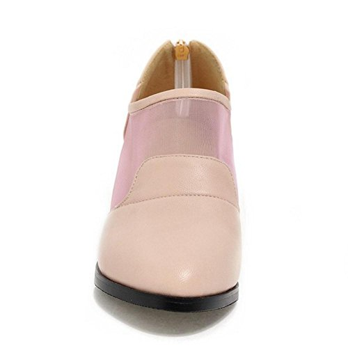 TAOFFEN Women's Block Heels Court Shoes Pink-6311 ZOqzbQzHXN